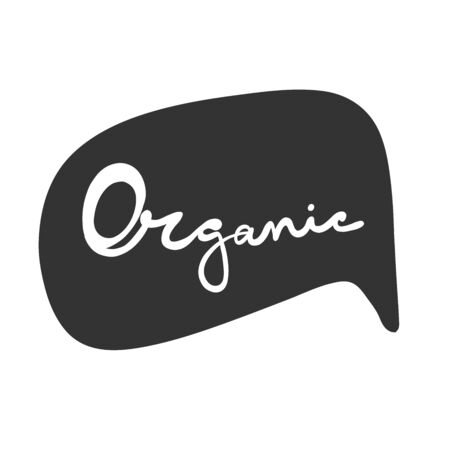 Organic. Green eco bio sticker for social media content. Vector hand drawn illustration design.