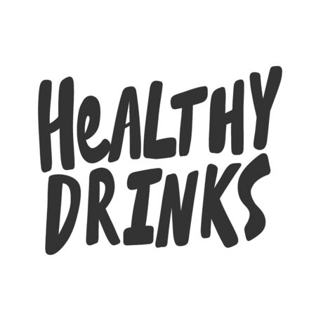Healthy drinks. Green eco bio sticker for social media content. Vector hand drawn illustration design.