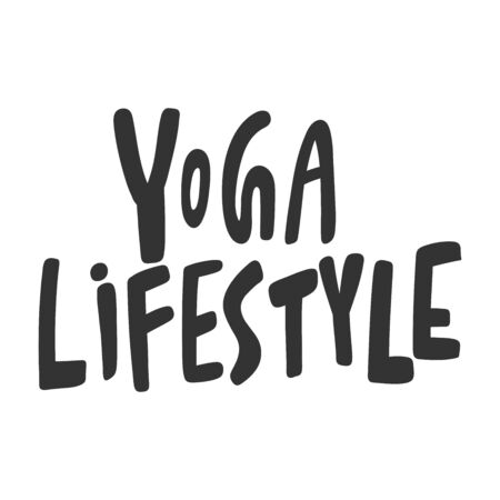 Yoga lifestyle. Sticker for social media content. Vector hand drawn illustration design.