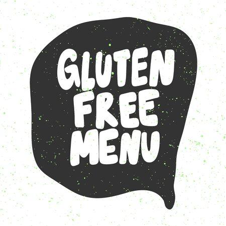 Gluten free menu. Green eco bio sticker for social media content. Vector hand drawn illustration design.
