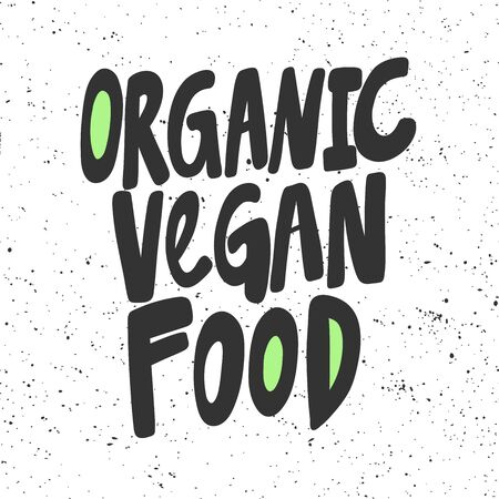Organic vegan food. Green eco bio sticker for social media content. Vector hand drawn illustration design.