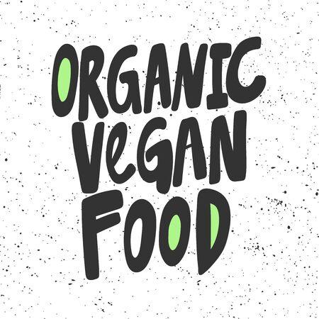 Organic vegan food. Green eco bio sticker for social media content. Vector hand drawn illustration design.