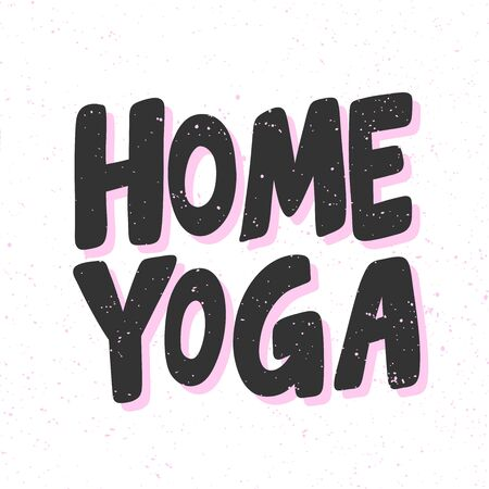 Home yoga. Sticker for social media content. Vector hand drawn illustration design.