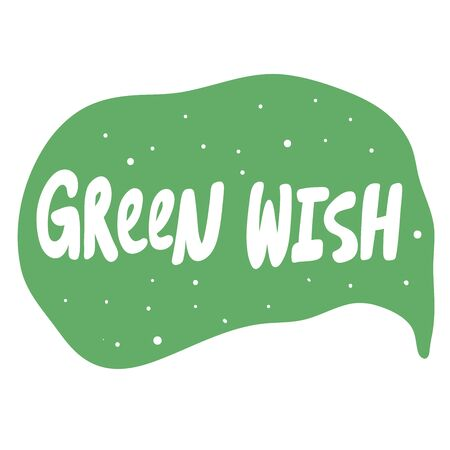 Green wish. Eco bio sticker for social media content. Vector hand drawn illustration design. Çizim