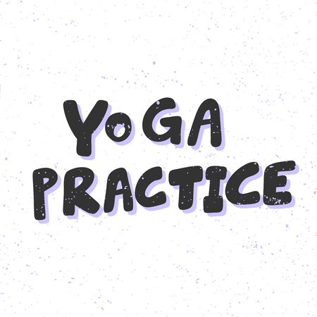 Yoga practice. Sticker for social media content. Vector hand drawn illustration design.