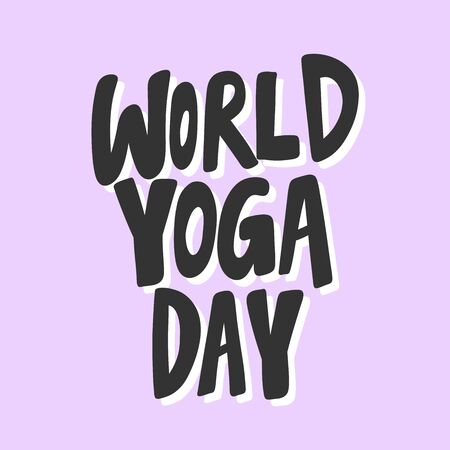 World yoga day. Sticker for social media content. Vector hand drawn illustration design.