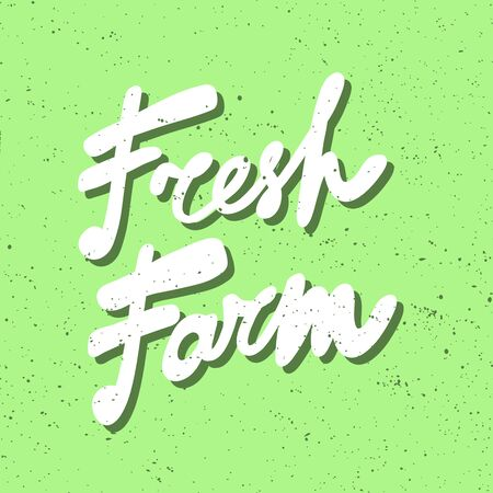 Farm fresh. Green eco bio sticker for social media content. Vector hand drawn illustration design. Çizim