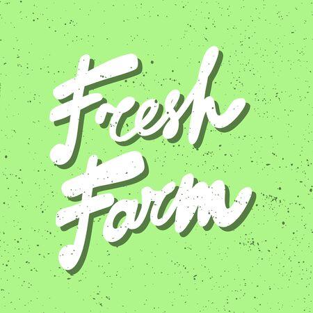 Farm fresh. Green eco bio sticker for social media content. Vector hand drawn illustration design. Illustration