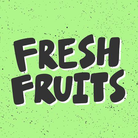 Fresh fruits. Green eco bio sticker for social media content. Vector hand drawn illustration design.