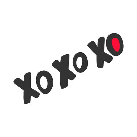 Xo xo. Valentines day Sticker for social media content. Vector hand drawn illustration design.