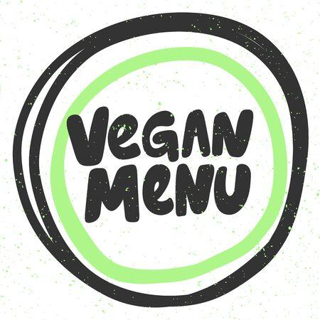Vegan menu. Green eco bio sticker for social media content. Vector hand drawn illustration design. Illustration
