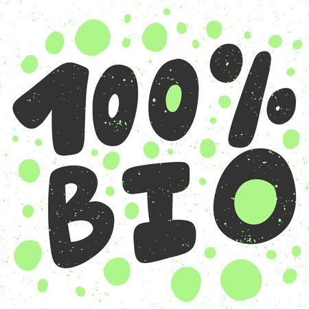 100 Green eco bio sticker for social media content. Vector hand drawn illustration design. 向量圖像