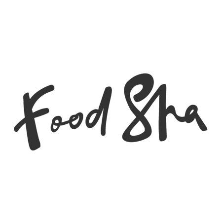 Food spa. Green eco bio sticker for social media content. Vector hand drawn illustration design. 向量圖像
