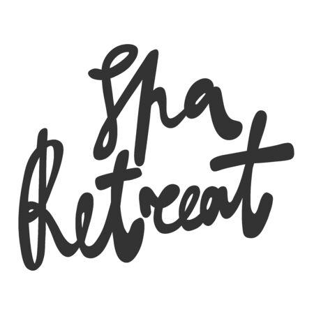 Spa retreat. Green eco bio sticker for social media content. Vector hand drawn illustration design.