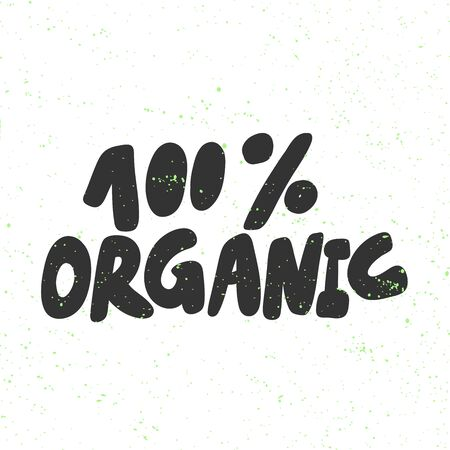100 Organic. Green eco bio sticker for social media content. Vector hand drawn illustration design.