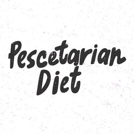 Pescetarian diet. Green eco bio sticker for social media content. Vector hand drawn illustration design.