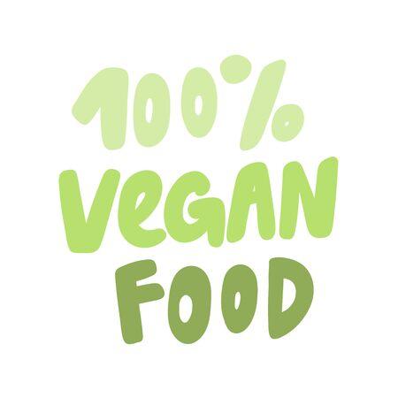 100 vegan food. Green eco bio sticker for social media content. Vector hand drawn illustration design.