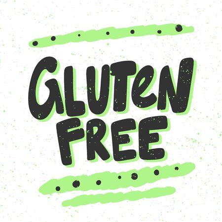 Gluten free. Green eco bio sticker for social media content. Vector hand drawn illustration design.