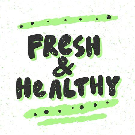 Fresh and healthy. Green eco bio sticker for social media content. Vector hand drawn illustration design.