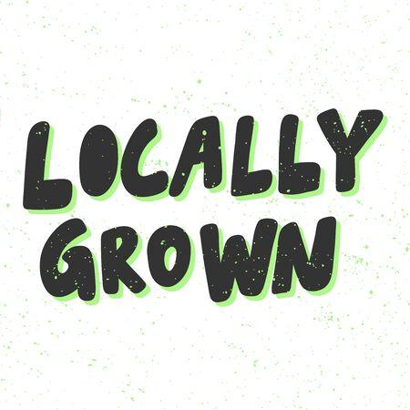 Locally grown. Green eco bio sticker for social media content. Vector hand drawn illustration design. 向量圖像