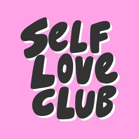 Self love club. Green eco bio sticker for social media content. Vector hand drawn illustration design.