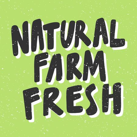 Natural farm fresh. Green eco bio sticker for social media content. Vector hand drawn illustration design.