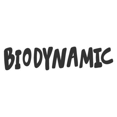 Biodynamic. Green eco bio sticker for social media content. Vector hand drawn illustration design. Illustration