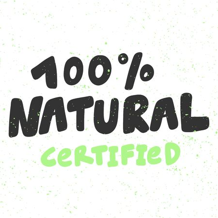 100 Natural. Green eco bio sticker for social media content. Vector hand drawn illustration design.