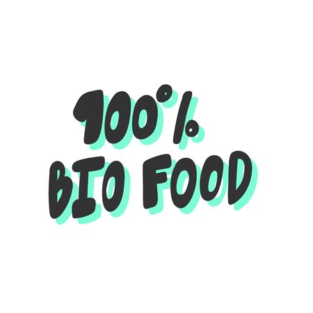 100 bio food. Green eco sticker for social media content. Vector hand drawn illustration design.