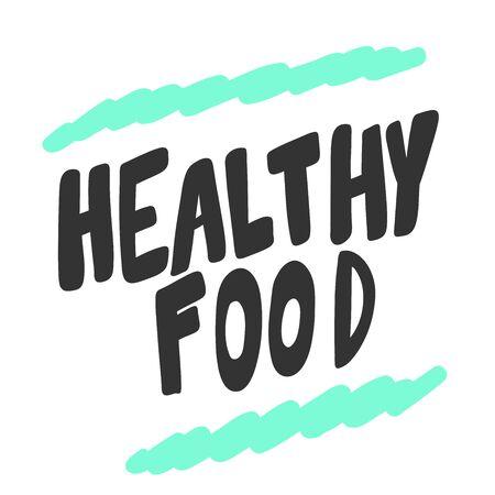 Healthy food. Green eco bio sticker for social media content. Vector hand drawn illustration design. 向量圖像