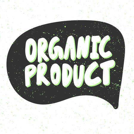 Organic product. Green eco bio sticker for social media content. Vector hand drawn illustration design.