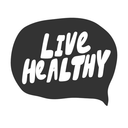 Live healthy. Green eco bio sticker for social media content. Vector hand drawn illustration design.