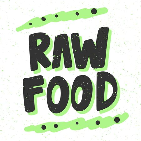 Raw food. Green eco bio sticker for social media content. Vector hand drawn illustration design. 向量圖像