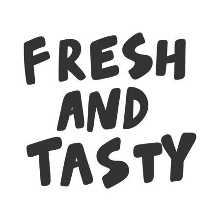 Fresh and tasty. Green eco bio sticker for social media content. Vector hand drawn illustration design.