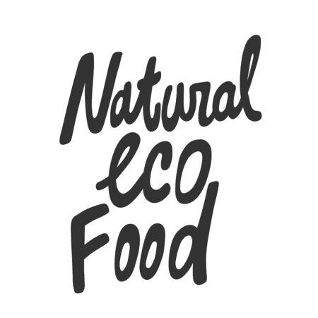 Natural eco food. Green eco bio sticker for social media content. Vector hand drawn illustration design. 向量圖像