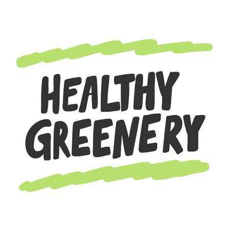 Healthy greenery. Green eco bio sticker for social media content. Vector hand drawn illustration design.