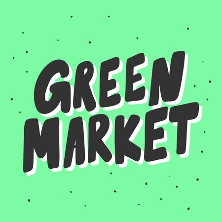 Green market. Eco bio sticker for social media content. Vector hand drawn illustration design.