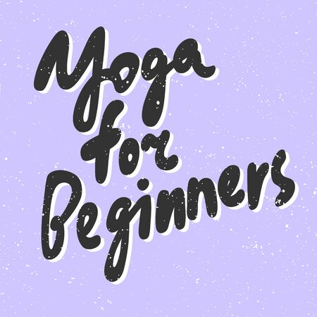 Yoga for beginners. Sticker for social media content. Vector hand drawn illustration design.