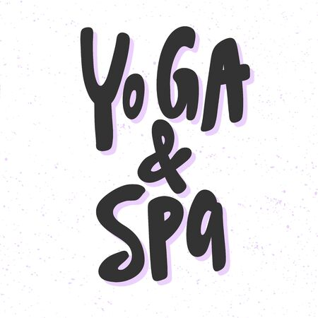 Yoga and spa. Sticker for social media content. Vector hand drawn illustration design.