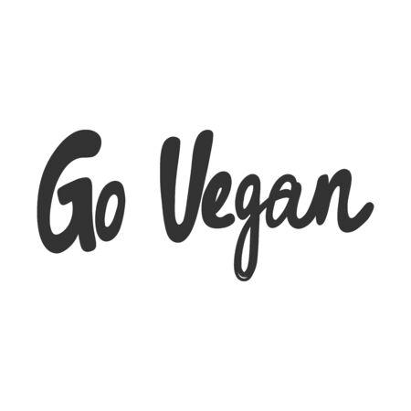 Go vegan. Green eco bio sticker for social media content. Vector hand drawn illustration design.