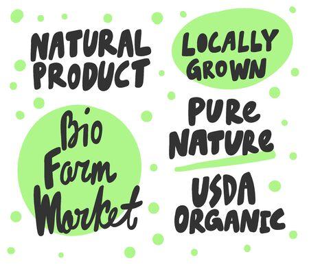 Green eco eat vegan organic bio sticker collection for social media content. Vector hand drawn illustration design.