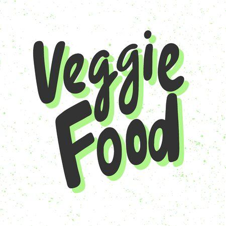 Veggie food. Green eco bio sticker for social media content. Vector hand drawn illustration design.