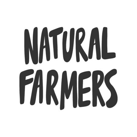 Natural farmers. Green eco bio sticker for social media content. Vector hand drawn illustration design.