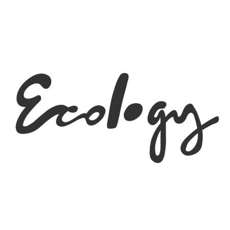 Ecology. Green eco bio sticker for social media content. Vector hand drawn illustration design.