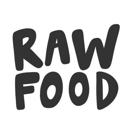 Raw food. Green eco bio sticker for social media content. Vector hand drawn illustration design. Illustration