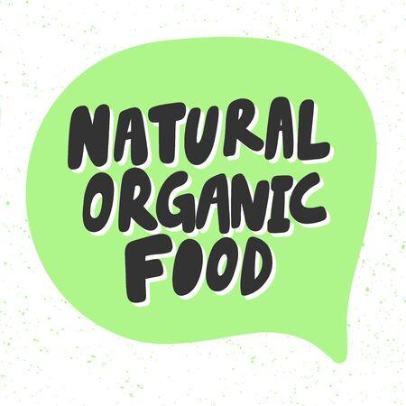 Natural organic food. Green eco bio sticker for social media content. Vector hand drawn illustration design.