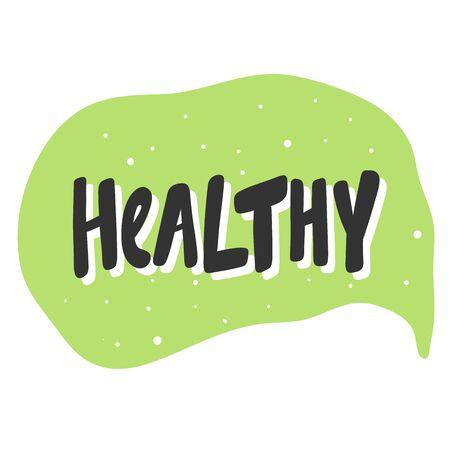 Healthy. Green eco bio sticker for social media content. Vector hand drawn illustration design.