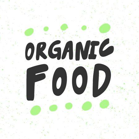Organic food. Green eco bio sticker for social media content. Vector hand drawn illustration design.