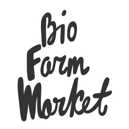 Bio farm market. Green eco sticker for social media content. Vector hand drawn illustration design.