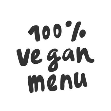 100 vegan menu. Green eco bio sticker for social media content. Vector hand drawn illustration design.